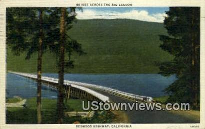 Bridge, Big Lagoon - Redwood Highway, California CA Postcard
