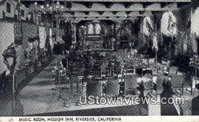 Music Room, Mission Inn - Riverside, California CA Postcard