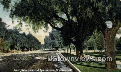 West Adams St. & Hoover - Los Angeles, California CA Postcard