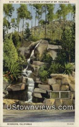 St. Francis Fountain - Riverside, California CA Postcard