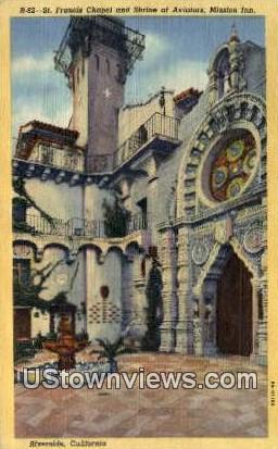 St. Francis Chapel & Shrine - Riverside, California CA Postcard
