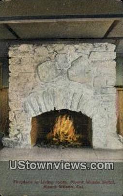 Fireplace, Mount Wilson Hotel - Mt. Wilson, California CA Postcard