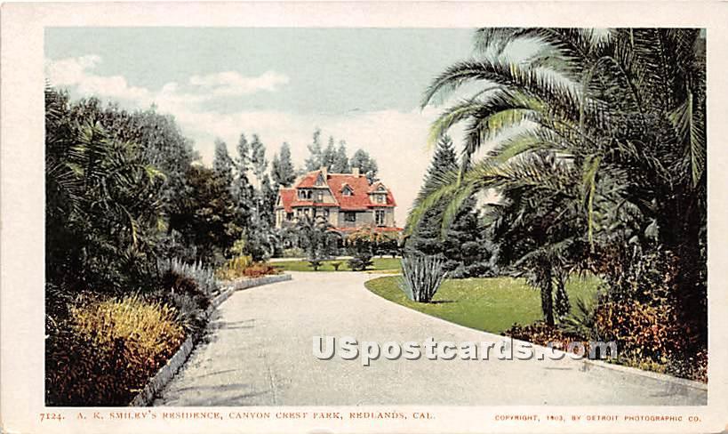 A K Smiley's Residence, Canyon Crest Park - Redlands, California CA Postcard