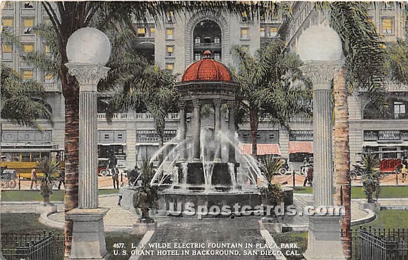 LJ Wilde Electric Fountain - San Diego, California CA Postcard
