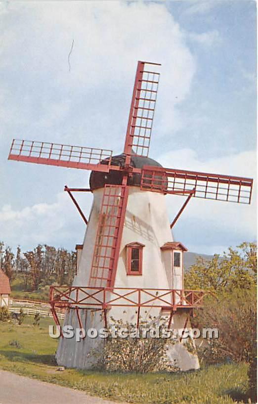 Santa Ynez Valley Wind Mill - Solvang, California CA Postcard