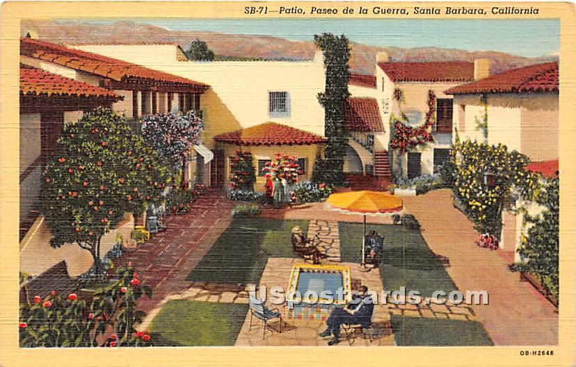 Padeo de la Guerra - Santa Barbara, California CA Postcard