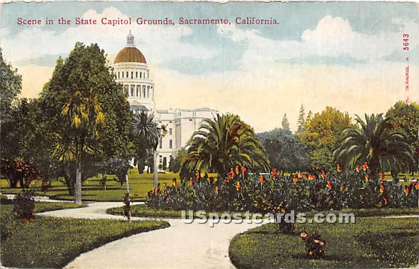 State Capitol Grounds - Sacramento, California CA Postcard