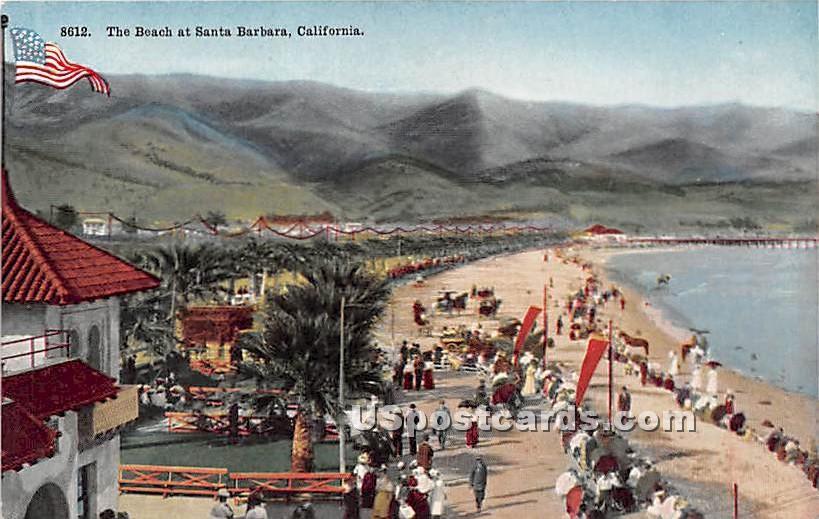 Beach - Santa Barbara, California CA Postcard