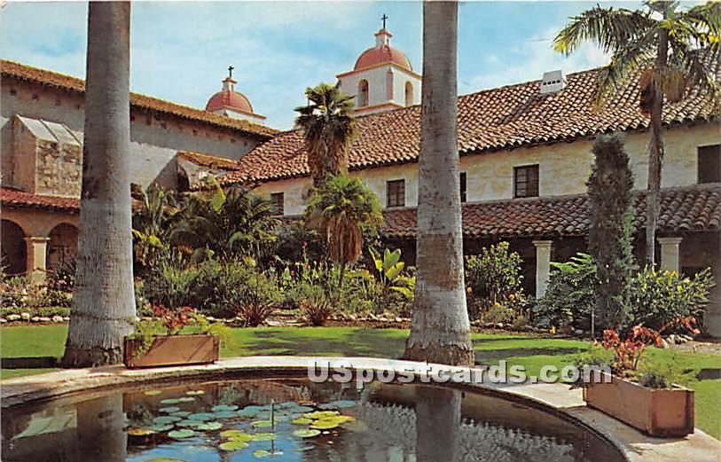 Mission - Santa Barbara, California CA Postcard