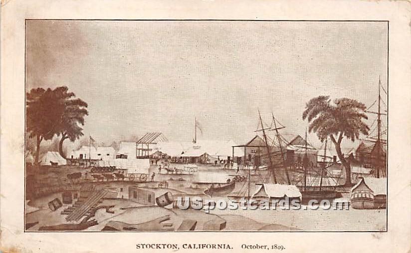 October 1849 - Stockton, California CA Postcard