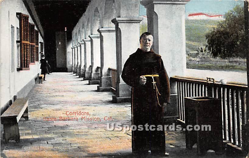 Corridor of Santa Barbara Mission - California CA Postcard