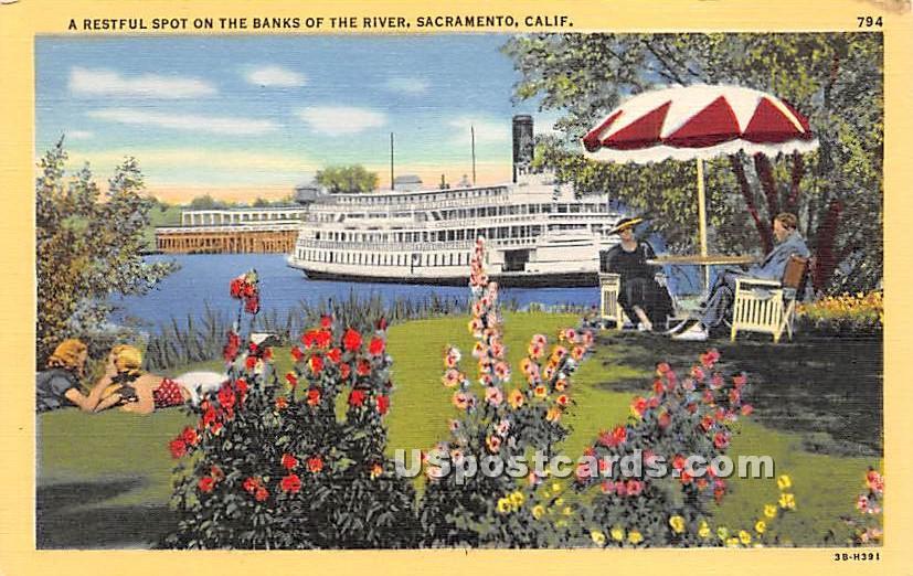 The Banks of the River - Sacramento, California CA Postcard