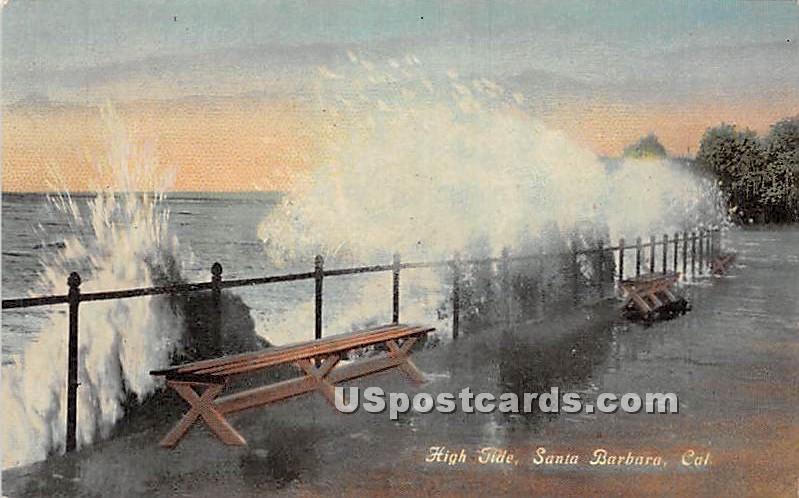 High Tide - Santa Barbara, California CA Postcard