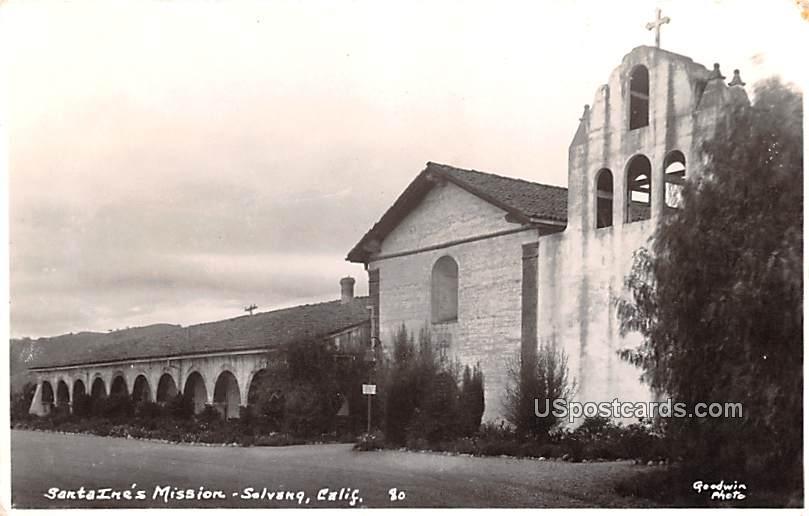 Santa Ine's Mission - Solvang, California CA Postcard