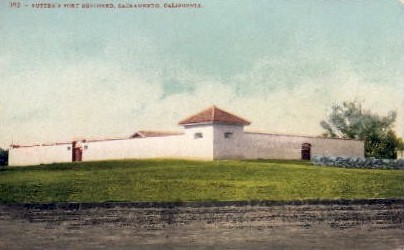 Sutter's Fort Restored - Sacramento, California CA Postcard
