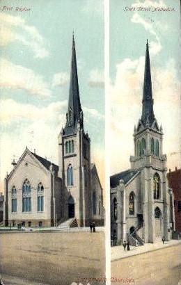 Sixth Street Methodist ; First Baptist - Sacramento, California CA Postcard