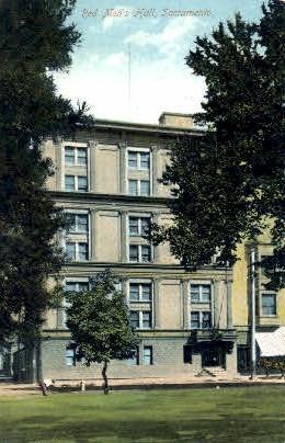 Red Men's Hall - Sacramento, California CA Postcard