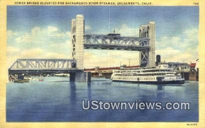 Tower Bridge, Steamer - Sacramento, California CA Postcard