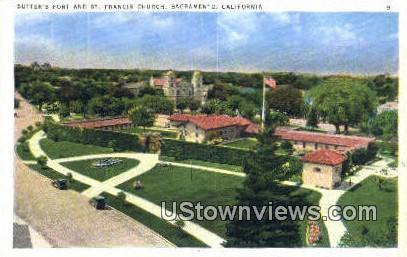Sutter's Fort, St. Francis Church - Sacramento, California CA Postcard