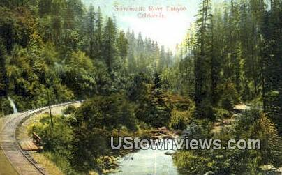 Sacramento River Canyon - California CA Postcard