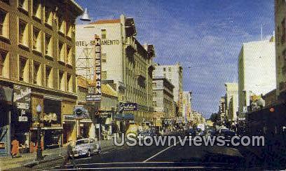 K. Street - Sacramento, California CA Postcard