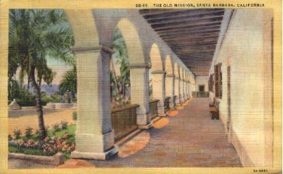 The Old Mission - Santa Barbara, California CA Postcard