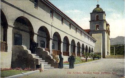 The Arches, Mission Santa Barbara - California CA Postcard