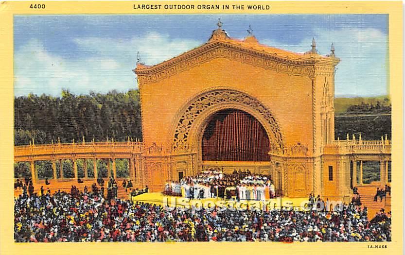 Largest Outdoor Organ - San Diego, California CA Postcard