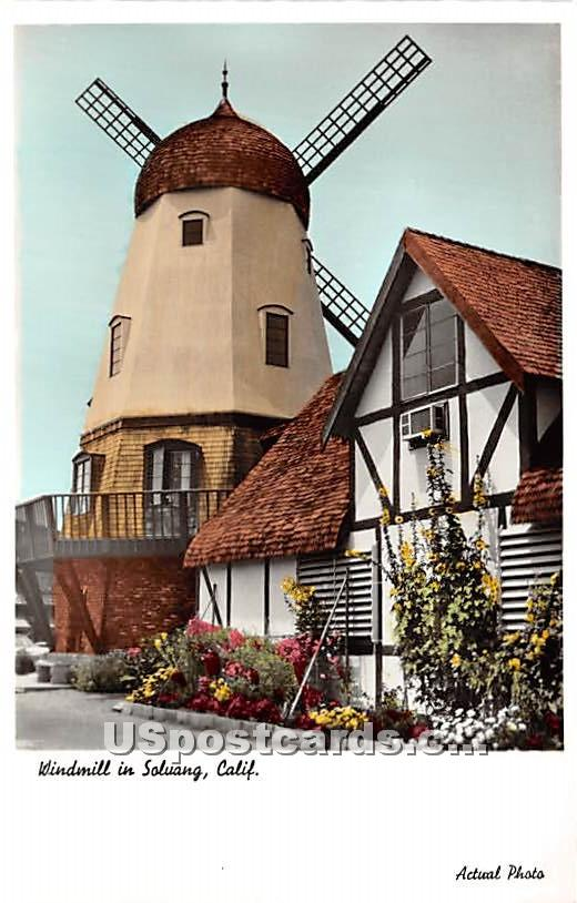 Windmill - Solvang, California CA Postcard