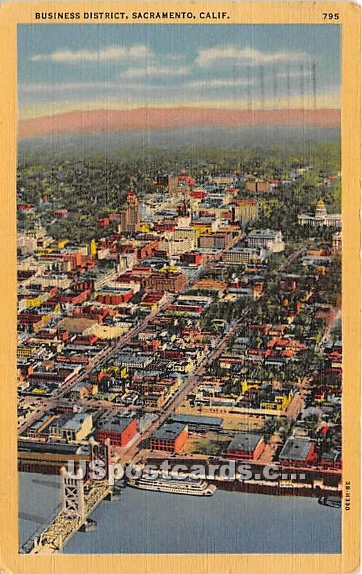 Business District - Sacramento, California CA Postcard