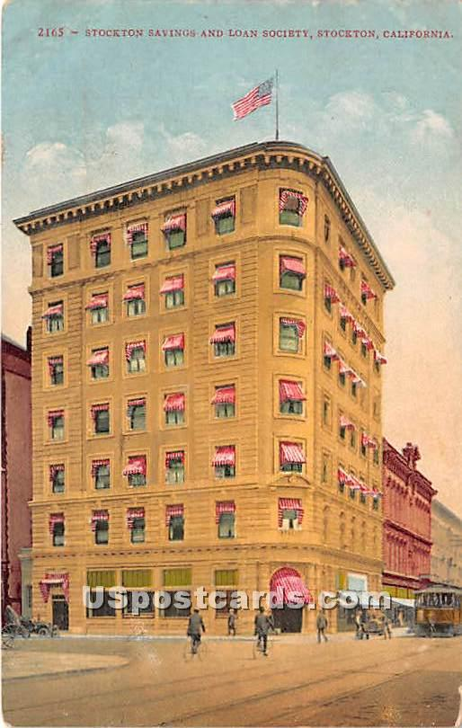 Stockton Savings & Loan Society - California CA Postcard
