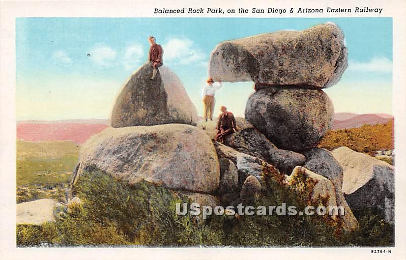 Balanced Rock Park - San Diego, California CA Postcard