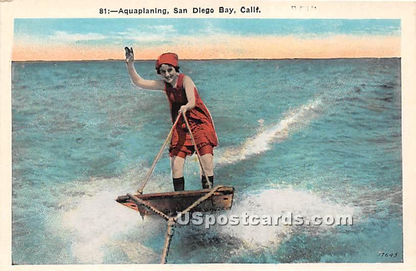 Aquaplaning - San Diego Bay, California CA Postcard
