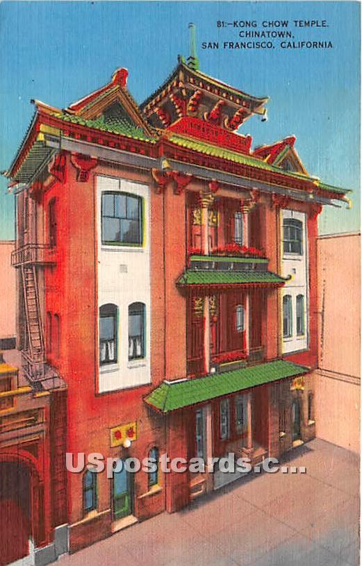 Kong Chow Temple, Chinatown - San Francisco, California CA Postcard