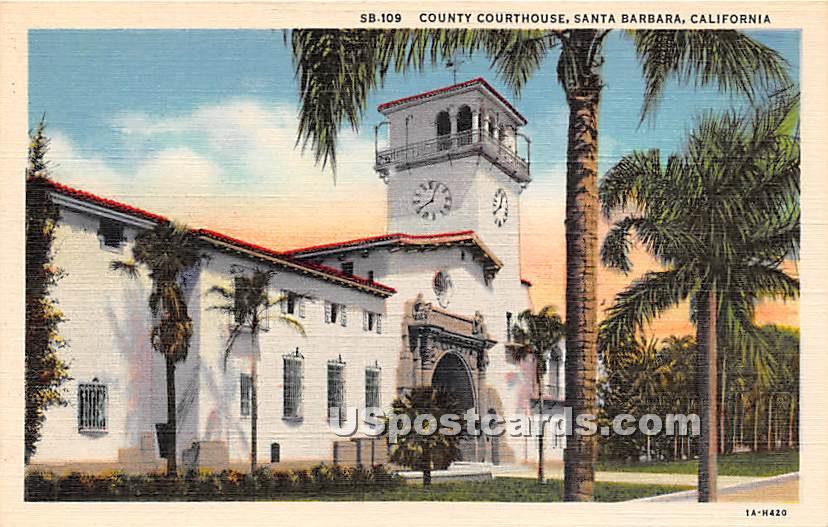 County Courthouse - Santa Barbara, California CA Postcard