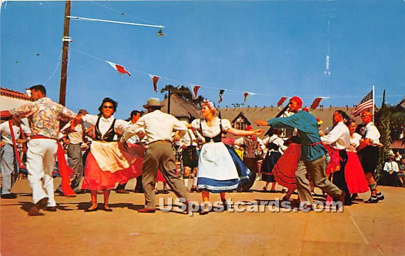 Folk Dances, Danish Days Fete - Solvang, California CA Postcard