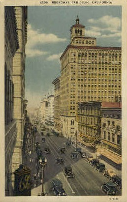 Broadway - San Diego, California CA Postcard