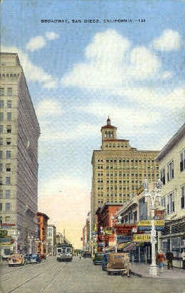 Broadway - San Diego, California CA Postcard