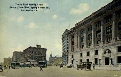 Temple Block - Los Angeles, California CA Postcard