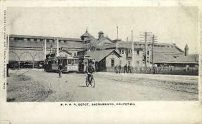 S.P.R.R. Depot - Sacramento, California CA Postcard