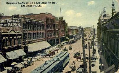First St. - Los Angeles, California CA Postcard