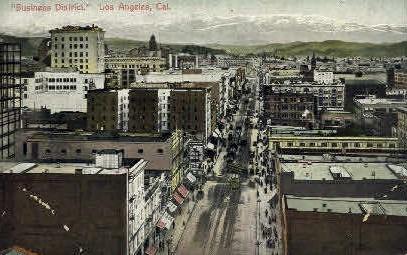 Business District - Los Angeles, California CA Postcard