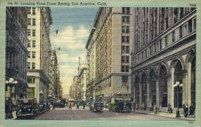 Spring St. - Los Angeles, California CA Postcard