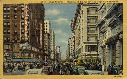 Daily Crowds - Los Angeles, California CA Postcard