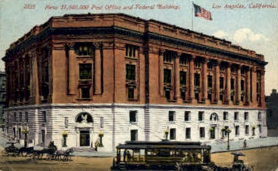 Post Office & Fedral Building - Los Angeles, California CA Postcard