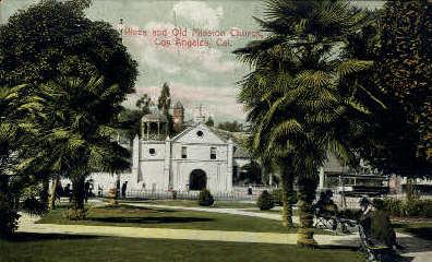 Plaza & Old Mission Church - Los Angeles, California CA Postcard