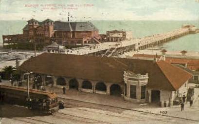 Pleasure Pier & Auditorium - Long Beach, California CA Postcard