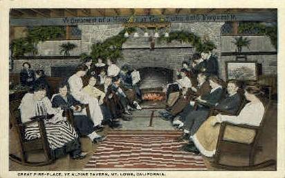 Great Fire-Place, Alpine Tavern - Mt. Lowe, California CA Postcard