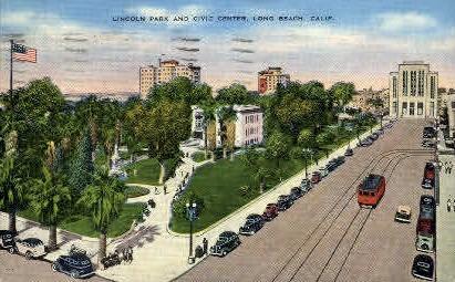 Lincoln Park & Civic Center - Long Beach, California CA Postcard