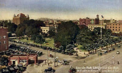 Lincoln Park Library & City Hall - Long Beach, California CA Postcard